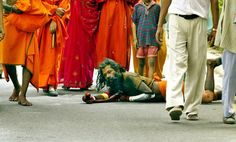"""Ludkan Baba, Mohan Das, more commonly known as Lotan Baba (or """"rolling saint"""") is an Indian holy man promoting peace by rolling his body along the ground when he travels."""