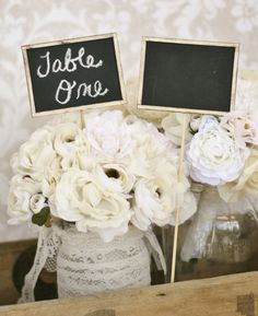 Chalkboard Signs Table Numbers Shabby Chic Wedding Rustic Decor SET of 4