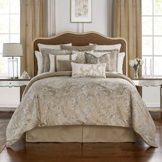 Waterford Chantelle Jacquard Comforter Set, California King ($470) ❤ liked on Polyvore featuring home, bed & bath, bedding, comforters, taupe, ca king comforter sets, cal king bedding, california king bed comforter, california king bedding and tan comforter
