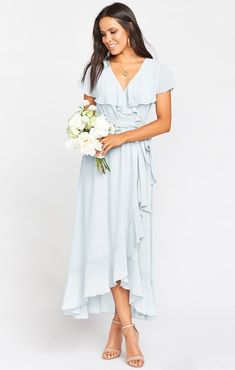 Jess Ruffle Midi Dress ~ Slate Blue Chiffon – Show Me Your Mumu Beachy Maxi Dress, Flowy Midi Dress, White Midi Dress, Boho Dress, Light Blue Midi Dress, Mauve Dress, Light Blue Bridesmaid Dresses, Bridesmaids, Nice Dresses