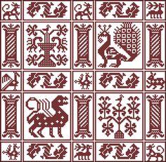 cross stitch Italian replica 2 Filet Crochet old pattern square antique monochrome