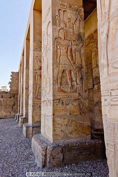 Square pillars, Temple of Seti in Abydos, Egypt