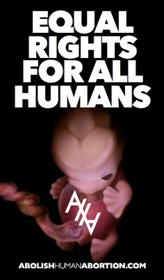 """Equal rights for all humans!"" Because innocent children in the womb are also made in the image of God. Abolish Human Abortion."