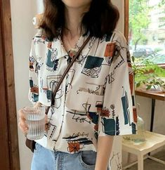 Popular new work Popular short-sleeved slender show Comfortable Korean style loose print shirt - Vintage Outfits, Retro Outfits, Cute Casual Outfits, Korean Outfits, Look Boho, Girl Fashion, Fashion Outfits, Mode Vintage, Outfit Goals