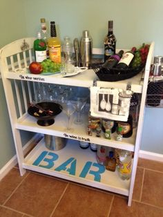 I found this baby changing table at the Rescue Mission for 12 bucks. Cleaned it up, painted it, added some goodies and now I have a Bar Cart!