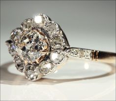 Antique Cushion Cut Diamond Cluster Ring, c. 1900 18k Gold and from vsterling on Ruby Lane