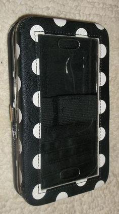 B&W polka dot wristlet purse cell phone id card holder clutch wallet pocketbook #Unbranded #Clutch