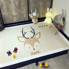 Women And Children 110cm Kids Cartoon Play Game Mats Round Floor Carpet Rugs Mat Non-slip Cotton Room Crawling Mat Toys Storage Bag Baby Gifts Suitable For Men