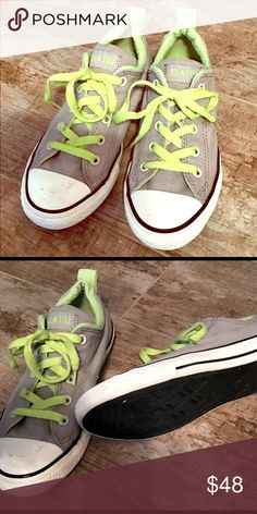 f52c1f494a9d Converse All Star Gray Lime Youth Size 3 Converse All Star Gray Lime Youth  Size 3 - Gently Used -  Very Good Condition  - Light Black Mark To One Toe  At ...