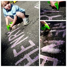 After we painted with our entire batch of homemade sidewalk paint, then the fizzy fun began. Fill a squirt bottle with vinegar and spray your drawings!