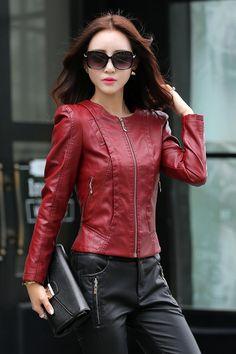 Jaqueta De Couro Feminina New Fashion Slim Ladies Biker Leather Jacket Women Zipper Stand Collar Full Sleeve Classic Jackets