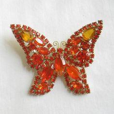 ON SALE Vintage JULIANA Verified D, Orange and Golden Topaz Rhinestone Butterfly Brooch or Pin