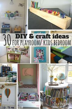 30 DIY and Craft decorating ideas for a playroom or kid's bedroom shared from home decor bloggers. So many simple, effective and adorable decorating ideas.