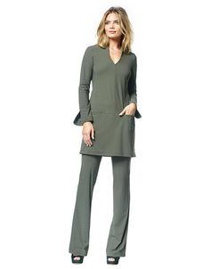 Stella - thyme green - LaDress by Simone Timeless Design, Dame, Duster Coat, Jumpsuit, Dresses For Work, Womens Fashion, Green, Fabric, Jackets