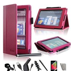 iMcase ® (Magenta Hot Pink) Folio Bold Standby Case Cover for Amazon Kindle Fire + Stylus/Car Charger/Micro USB Cable/ Fishbone Cord Wrap/Bonus Velcro Cable Tie/Screen Film/Clearn Cloth by iMcase. $14.99. iMcase LLC is fully committed to the brand and the only authorized distributor of this product. Please read on if you feel that the case does not stand up correctly. The PU Leather material needs some time to break in. Once it breaks in, the platform that touches the table will...