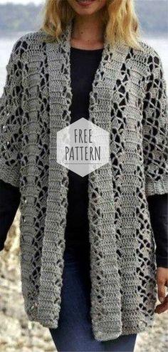 Spring Cardigan Free Pattern - Knitting and Crochet Crochet Cardigan Pattern, Knit Or Crochet, Crochet Shawl, Free Crochet, Crochet Sweaters, Knitting Patterns Free, Free Pattern, Free Knitting, Sewing Patterns