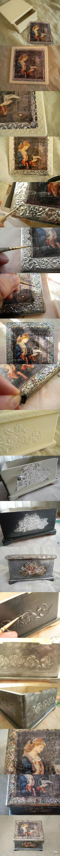 Handmade Home Decor Decoupage Tutorial, Decoupage Paper, Diy Home Decor Projects, Projects To Try, Wax Paper Transfers, Creative Box, Wood Painting Art, Handmade Home Decor, Altered Art