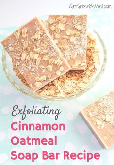 Exfoliating Cinnamon Oatmeal Soap Bar Recipe - Get Green Be Well Refresh and rejuvenate your skin each morning with this easy DIY soap bar recipe! The comforting aroma of cinnamon and oatmeal combine for a soothing soap that exfoliates for fresh new skin. Diy Soap Bar Recipe, Homemade Soap Recipes, Homemade Bar, Oatmeal Soap, Cinnamon Oatmeal, Diy Tumblr, Peeling, Beauty Recipe, Home Made Soap