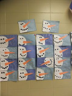 First Grade Blue Skies: Snowman Torn Paper collage