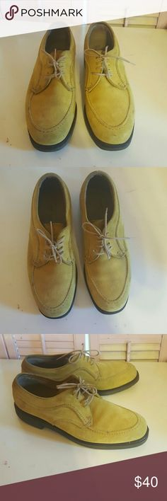 Mustard suede loafers Mustard suede lace up loafers by hush puppies Hush Puppies Shoes Flats & Loafers