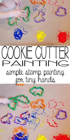 Cookie Cutter Painting: simple stamp painting for tiny hands. Preschool Art Projects, Toddler Art Projects, Toddler Crafts, Projects For Kids, Preschool Activities, Crafts For Kids, Toddler Painting Ideas, Process Art Preschool, Toddler Preschool