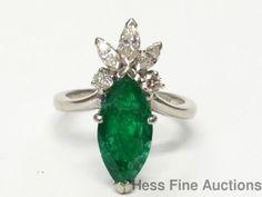 Unique 1950s Platinum Fine Diamond Natural Emerald Marquise Vintage Ring Sz 4.5 #SolitairewithAccents