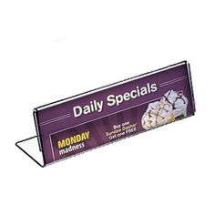 Azar 112760 8.5-Inch Weight by 2.5-Inch Height Horizontal Nameplate Acrylic Sign Holder, 10-Pack by Azar. $26.33. From the Manufacturer                Horizontal Name Plate Acrylic Sign Holder measures 8.5-Inchw by 2.5-Inch high. This clear plastic sign holder features slant back design that highlights a name on an office desk. The nameplate holder works well for office use or for product labels and pricing. The frames's side load design allows for easy insertion of printed m...