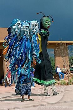 Wise Fool of New Mexico, giant puppets, Milner Plaza, Santa Fe, New Mexico, United States of America, North America
