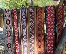 Tautas tērpu jostas atbilstošas Alsungas novadam, Basu josta un Zemgales josta. Woven sashes of Latvian folk costume.