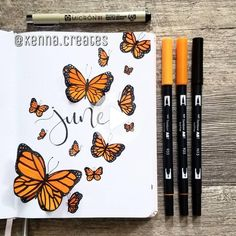 butterflies I'm so exciting forJune! I decided to do a monarch butterfly theme because we've had SO many butterflies where I live this year! Daily Bullet Journal, Bullet Journal Notebook, Bullet Journal Aesthetic, Bullet Journal School, Bullet Journal Layout, Bullet Journal Ideas Pages, Bullet Journal Inspiration, Bellet Journal, Kalender Design