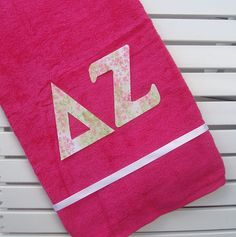Delta Zeta Personalized Sorority Letter Towel by Lettered4You, $16.00