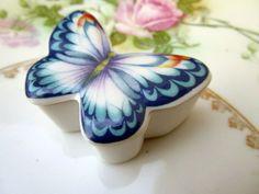 Vintage Porcelain Trinket Butterfly Trinket box lid is a brooch by Holliezhobbiez on Etsy