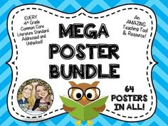 WOW! THIS BUNDLE HAS IT ALL!This MEGA POSTER BUNDLE has every 4th Grade Literature Common Core Standard addressed and unpacked to the fullest. This is an amazing resource and teaching tool!Posters address Key Ideas and Details, Craft and Structure, Vocabulary and Language Acquisition, and Language Standards!Posters have each topic explained in detail in Kid Friendly terminology.Posters have definitions, charts, lists, questions to consider, and cute graphics to go along with each one.
