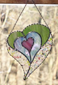 Suncatcher Stained Glass quatre coeurs dans un coeur par GLASSbits