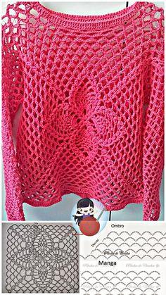 Freeform Crochet, Crochet Lace, Crochet Stitches, Free Crochet, Crochet Patterns, Tricot Simple, Crochet Summer Tops, Crochet Shirt, Crochet Woman