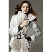 Down Jacket Combined with Mutton and Detachable Rex Rabbit Collar