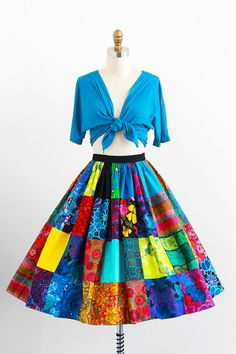 vintage 1950s dress / circle skirt and blouse / Teal and Pink Pinup Peasant Tie Top and Patchwork Skirt Dress Set
