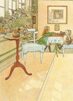 """Carl Larson """"Schackspelet"""" (1902), ingår i Larssons. Kersti och Esbjörn spelar schack i bakgrunden och längst fram i bilden tronar en stor härligt blommande pelargon på  ett litet pelarbord. Akvarell."""