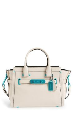 COACH 'Soft Swagger 27' Leather Satchel. #coach #bags #shoulder bags #hand bags #leather #satchel #lining #