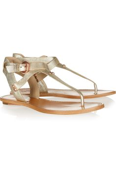Randy metallic leather sandals by Belle Sigerson Morrison - Love the hardware on these