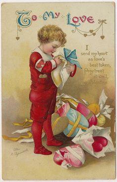 St. Valentine's Greeting, Signed Ellen H. Clapsaddle, Boy Opens Gift 1910 PC | eBay
