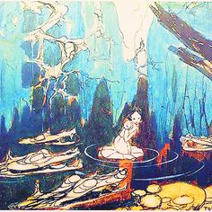 Snow White and the Seven Dwarfs concept art by Gustaf Tenggren