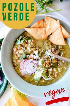 Easy recipe for restaurant-style pozole verde with pinto beans! This vegan & delicious green pozole is a perfect soup for weeknights or anytime. Since beans are naturally vegan and gluten-free, this recipe makes for a great potluck dish. #pozoleverde #beans #veganpozole #mexican #vegan #glutenfree