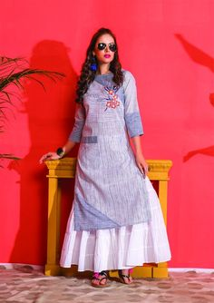Cotton kurti with skirt and superb detailing.