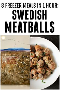 8 delicious slow cooker freezer meals that can be put together in just one hour. These recipes use simple ingredients that your family will love. Slow Cooker Freezer Meals, Slow Cooker Recipes, Cooking Recipes, Crockpot Recipes, Slow Cooker Swedish Meatball Recipe, Breastfeeding Snacks, Rib Meat, Crock Pot Meatballs, How To Cook Beef