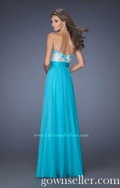 La Femme 20001 Lace Chiffon Aquamarine Prom Dress