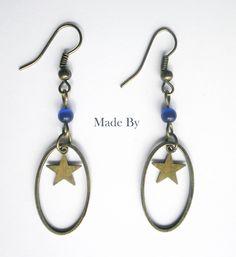 Boucle d'oreille Etoile bleue Bronze : Boucles d'oreille par made-by
