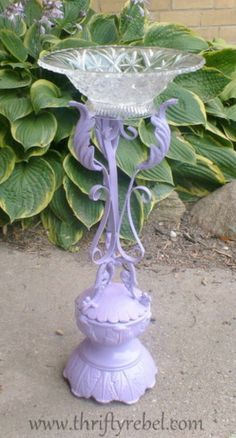 DIY Wrought Iron Candle Holder Birdbath Make a birdbath from a wrought iron candle holder and a glass dish
