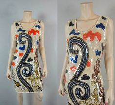 Vintage 80s Silk Sequin Beaded Disco Party by CkshopperVintage, $59.00