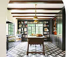 One of the best looking tiles is Tulum from Cement Tile Co. Again, a remodeled kitchen, a stucco look, wood shelves, an accent color – elements that cement tiles look best with. I love this kitchen and this is my favorite tile too. Ignoring the pretty ceiling, this could be any kitchen – by painting the cabinets, removing a section of uppers, installing the cement tiles – you could change any hum-drum kitchen into a fabulous one!!